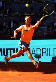 MADRID, SPAIN - MAY 03: Rafael Nadal of Spain in action against Andrey Kuznetsov of Russia during day four of the Mutua Madrid Open tennis tournament at the Caja Magica on May 03, 2016 in Madrid, Spain. (Photo by Julian Finney/Getty Images)