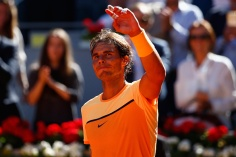 MADRID, SPAIN - MAY 03: Rafael Nadal of Spain celebrates defeating Andrey Kuznetsov of Russia during day four of the Mutua Madrid Open tennis tournament at the Caja Magica on May 03, 2016 in Madrid, Spain. (Photo by Julian Finney/Getty Images)