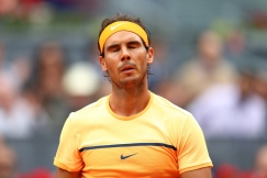 MADRID, SPAIN - MAY 06: Rafael Nadal of Spain reacts during the Men's Singles Quarter Final match against Joao Sousa of Portugal during day seven of the Mutua Madrid Open at La Caja Magica on May 6, 2016 in Madrid, Spain. (Photo by Julian Finney/Getty Images)