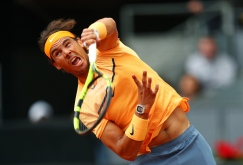 MADRID, SPAIN - MAY 06: Rafael Nadal of Spain serves during the Men's Singles Quarter Final match against Joao Sousa of Portugal during day seven of the Mutua Madrid Open at La Caja Magica on May 6, 2016 in Madrid, Spain. (Photo by Julian Finney/Getty Images)