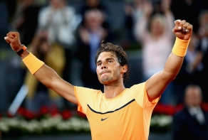 MADRID, SPAIN - MAY 06: Rafael Nadal of Spain celebrates to the crowd after his three set victory against Joao Sousa of Portugal in their quarter final round match during day seven of the Mutua Madrid Open tennis tournament at the Caja Magica on May 06, 2016 in Madrid,Spain. (Photo by Clive Brunskill/Getty Images)