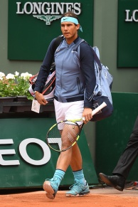 PARIS, FRANCE - MAY 24: Rafael Nadal of Spain makes his way onto the court prior to the Men's Singles first round match against Sam Groth of Australia on day three of the 2016 French Open at Roland Garros on May 24, 2016 in Paris, France. (Photo by Dennis Grombkowski/Getty Images)