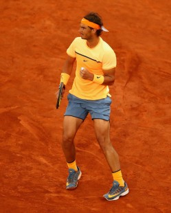 Rafael Nadal of Spain celebrates a point against Sam Querrey of the United States in their third round match during day six of the Mutua Madrid Open tennis tournament at the Caja Magica on May 05, 2016 in Madrid,Spain (May 4, 2016 - Source: Clive Brunskill/Getty Images Europe)