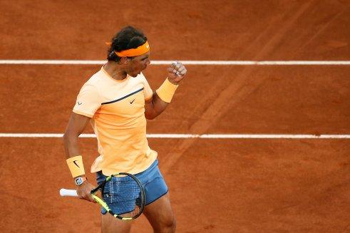 Tennis - Madrid Open - Rafael Nadal of Spain v Sam Querrey of USA - Madrid, Spain - 5/5/16 Nadal celebrates winning a point. REUTERS/Juan Medina