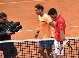 ROME, ITALY - MAY 13: Novak Djokovic of Serbia and Rafael Nadal of Spain after the match during day six of the The Internazionali BNL d'Italia 2016 on May 13, 2016 in Rome, Italy. (Photo by Giuseppe Bellini/Getty Images)