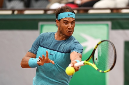 PARIS, FRANCE - MAY 26: Rafael Nadal of Spain plays a forehand during the Men's Singles second round match against Facundo Bagnis of Argentina on day five of the 2016 French Open at Roland Garros on May 26, 2016 in Paris, France. (Photo by Dennis Grombkowski/Getty Images)