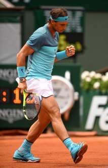 PARIS, FRANCE - MAY 26: Rafael Nadal of Spain reacts during the Men's Singles second round match against Facundo Bagnis of Argentina on day five of the 2016 French Open at Roland Garros on May 26, 2016 in Paris, France. (Photo by Dennis Grombkowski/Getty Images)