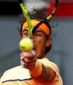 Tennis - Madrid Open - Andy Murray of Britain v Rafael Nadal of Spain - Madrid, Spain - 7/5/16 Nadal returns the ball. REUTERS/Andrea Comas