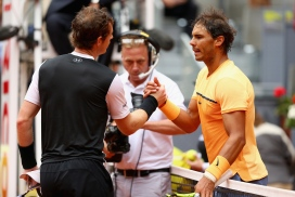 MADRID, SPAIN - MAY 07: Andy Murray of Great Britain shakes hands at the net after his straight sets victory against Rafael Nadal of Spain in their semi final match during day eight of the Mutua Madrid Open tennis tournament at the Caja Magica on May 07, 2016 in Madrid,Spain. (Photo by Clive Brunskill/Getty Images)