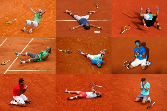 From left to right Rafael Nadal celebrates winning the 2005, 2006, 2007, 2008, 2010, 2011, 2012, 2013 and 2014 French Open. (Photo by Getty Images)