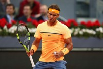 Rafael Nadal of Spain celebrates winning a game against Sam Querrey of USA during day six of the Mutua Madrid Open tennis tournament at the Caja Magica on May 05, 2016 in Madrid, Spain. (May 4, 2016 - Source: Julian Finney/Getty Images Europe)