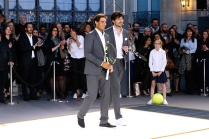 PARIS, FRANCE - MAY 18: (L-R) Tennis player Rafael Nadal and Model Andres Velencoso Segura compete during Tommy Hilfiger hosts Tommy X Nadal Party - Tennis Soccer match on May 18, 2016 in Paris, . (Photo by Rindoff Petroff/Hekimian/Getty Images for Tommy Hilfiger)