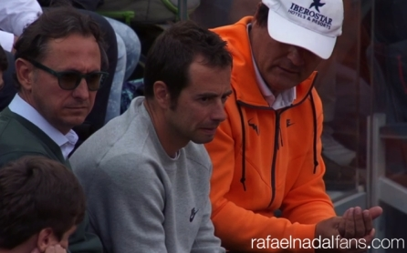 Rafael Nadal Pr manager Benito Perez Barbadillo, his physio Rafael Maymo and Uncle Toni at Rome masters QFs 2016