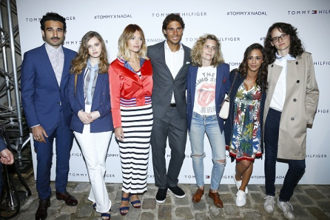 PARIS, FRANCE - MAY 18: (L-R) Syrus Shahidi, Lily Taieb, Caroline Receveur, Rafael Nadal, Clemence Gabriel, Alice Belaidi and Pauline Thomson attend the Tommy X Nadal party hosted by Tommy Hilfigeron May 18, 2016 in Paris, France. (Photo by Rindoff Petroff/Hekimian/Getty Images for Tommy Hilfiger)
