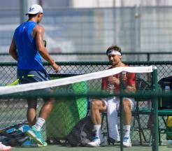 Rafael Nadal and David Ferrer practicing at Rio Olympics
