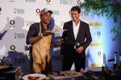Chef Marcus Samuelsson and tennis player Rafael Nadal give a demonstration at the Taste Of Tennis New York on August 25, 2016 in New York City. (Aug. 24, 2016 - Source: Nicholas Hunt/Getty Images North America)
