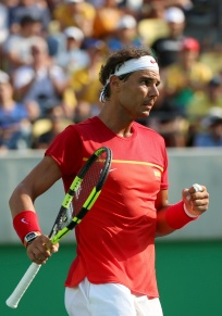 2016 Rio Olympics - Tennis - Preliminary - Men's Singles Second Round - Olympic Tennis Centre - Rio de Janeiro, Brazil - 09/08/2016. Rafael Nadal (ESP) of Spain reacts during his match against Andreas Seppi (ITA) of Italy. REUTERS/Kevin Lamarque FOR EDITORIAL USE ONLY. NOT FOR SALE FOR MARKETING OR ADVERTISING CAMPAIGNS.
