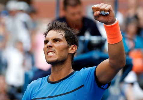 Rafael Nadal, of Spain, reacts after beating Denis Istomin, of Uzbekistan, during the first round of the U.S. Open tennis tournament, Monday, Aug. 29, 2016, in New York. (AP Photo/Alex Brandon)