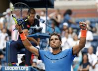 Rafael Nadal, of Spain, reacts after defeating Denis Istomin, of Uzbekistan, during the first round of the U.S. Open tennis tournament, Monday, Aug. 29, 2016, in New York. (AP Photo/Alex Brandon)