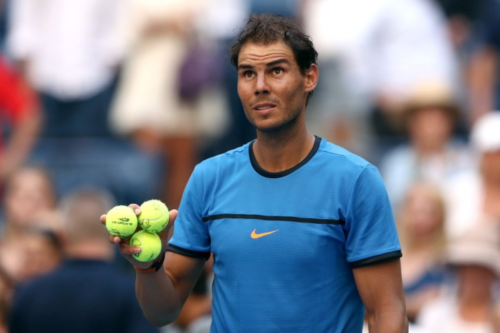 Rafael Nadal of Spain signs autographs after his first round Men's Singles match victory over Denis Istomin of Uzbekistan on Day One of the 2016 US Open at the USTA Billie Jean King National Tennis Center on August 29, 2016 in the Flushing neighborhood of the Queens borough of New York City. (Aug. 28, 2016 - Source: Elsa/Getty Images North America)