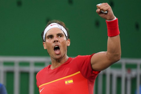 2016 Rio Olympics - Tennis - Preliminary - Men's Singles First Round - Olympic Tennis Centre - Rio de Janeiro, Brazil - 07/08/2016. Rafael Nadal (ESP) of Spain celebrates after winning his match against Federico Delbonis (ARG) of Argentina. REUTERS/Toby Melville FOR EDITORIAL USE ONLY. NOT FOR SALE FOR MARKETING OR ADVERTISING CAMPAIGNS.