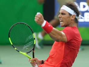 2016 Rio Olympics - Tennis - Preliminary - Men's Singles First Round - Olympic Tennis Centre - Rio de Janeiro, Brazil - 07/08/2016. Rafael Nadal (ESP) of Spain reacts during his match against Federico Delbonis (ARG) of Argentina. REUTERS/Toby Melville FOR EDITORIAL USE ONLY. NOT FOR SALE FOR MARKETING OR ADVERTISING CAMPAIGNS.