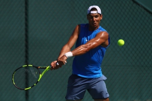 RIO DE JANEIRO, BRAZIL - AUGUST 01: Rafael Nadal of Spain in a practice session at the Olympic Tennis Centre on August 1, 2016 in Rio de Janeiro, Brazil. (Photo by Julian Finney/Getty Images)