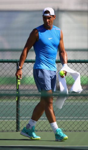 Rafael Nadal of Spain in a practice session at the Olympic Tennis Centre on August 1, 2016 in Rio de Janeiro, Brazil. (July 31, 2016 - Source: Julian Finney/Getty Images South America)