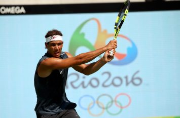 2016 Rio Olympics - Tennis - Training - Olympic Tennis Centre - Rio de Janeiro, Brazil - 05/08/2016. Rafael Nadal (ESP) of Spain trains during practice. REUTERS/Kevin Lamarque FOR EDITORIAL USE ONLY. NOT FOR SALE FOR MARKETING OR ADVERTISING CAMPAIGNS.