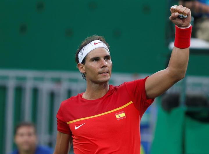 Rafael Nadal of Spain reacts after defeating Federico Delbonis of Argentina in a men's singles first round match at the Rio 2016 Olympic Games Tennis events at the Olympic Tennis Centre in the Olympic Park in Rio de Janeiro, Brazil, 07 August 2016. (España, Brasil, Tenis) EFE/EPA/MICHAEL REYNOLDS