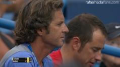 Rafael Nadal's coach Franciso Roig and physio Rafael Maymo in Cincinnati R2 2016