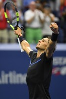 Rafael Nadal of Spain celebrates victory at the end of his Third Round match with Andrey Kusnetsov of Russia on Day Five of the 2016 US Open at the USTA Billie Jean King National Tennis Center on September 2, 2016 in the Flushing neighborhood of the Queens borough of New York City. (Sept. 1, 2016 - Source: Mike Hewitt/Getty Images North America)