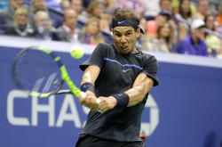 Rafael Nadal of Spain returns a shot to Andrey Kuznetsov of Russia during his third round Men's Singles match on Day Five of the 2016 US Open at the USTA Billie Jean King National Tennis Center on September 2, 2016 in the Flushing neighborhood of the Queens borough of New York City. (Sept. 1, 2016 - Source: Andy Lyons/Getty Images North America)