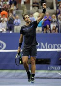 Rafael Nadal of Spain celebrates after winning his third round Men's Singles match against Andrey Kuznetsov of Russia on Day Five of the 2016 US Open at the USTA Billie Jean King National Tennis Center on September 2, 2016 in the Flushing neighborhood of the Queens borough of New York City. (Sept. 1, 2016 - Source: Andy Lyons/Getty Images North America)
