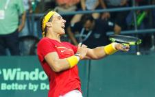 Spain's Rafael Nadal celebrates after winning the doubles match of the Tennis Davis Cup World Group Play-Off tie between Spain and India in New Delhi, India, 17 September 2016. (España, Tenis) EFE/EPA/RAJAT GUPTA