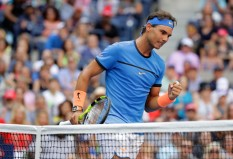 Rafael Nadal of Spain reacts against Lucas Pouille of France during his fourth round Men's Singles match on Day Seven of the 2016 US Open at the USTA Billie Jean King National Tennis Center on September 4, 2016 in the Flushing neighborhood of the Queens borough of New York City. (Sept. 3, 2016 - Source: Andy Lyons/Getty Images North America)