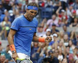 Rafael Nadal, of Spain, reacts to a point during play with Lucas Pouille, of France, during the fourth round of the U.S. Open tennis tournament, Sunday, Sept. 4, 2016, in New York. (AP Photo/Alex Brandon)
