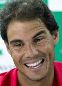 Spanish tennis player, Rafael Nadal, reacts as he answers a question during a press conference ahead of their Davis Cup tennis match against India in New Delhi, India, Tuesday, Sept. 13, 2016. Spain take on hosts India from Sept. 16 to 18. (AP Photo/Saurabh Das)