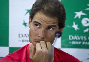 Spanish tennis player, Rafael Nadal, reacts as he listens to a question during a press conference ahead of their Davis Cup tennis match against India in New Delhi, India, Tuesday, Sept. 13, 2016. Spain take on hosts India from Sept. 16 to 18. (AP Photo/Saurabh Das)