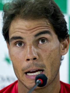 Spanish tennis player, Rafael Nadal, answers a question during a press conference ahead of their Davis Cup tennis match against India in New Delhi, India, Tuesday, Sept. 13, 2016. Spain take on hosts India from Sept. 16 to 18. (AP Photo/Saurabh Das)