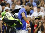Rafael Nadal, of Spain, walks from the court after loosing to Lucas Pouille, of France, during the fourth round of the U.S. Open tennis tournament, Sunday, Sept. 4, 2016, in New York. (AP Photo/Alex Brandon)