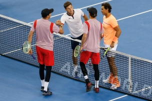 BEIJING, CHINA - OCTOBER 08: Rafael Nadal of Spian and Pablo Carreno Busta of Spain shake hands with Mike Bryan of the United States and Bob Bryan of the United States during the Men's Double Semi Final match on day eight of the 2016 China Open at the China National Tennis Centre on October 8, 2016 in Beijing, China. (Photo by Etienne Oliveau/Getty Images)