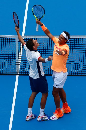Tennis - China Open men's double final - Beijing, China - 09/10/16. Spain's Pablo Carreno Busta and Rafael Nadal celebrate after winning against Jack Sock of the U.S. and Bernard Tomic of Australia. REUTERS/Thomas Peter