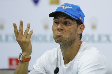 Rafael Nadal of Spain speaks during a press conference after lost Viktor Troicki of Serbia on day four of Shanghai Rolex Masters at Qi Zhong Tennis Centre on October 12, 2016 in Shanghai, China. (Lintao Zhang/Getty Images)