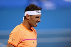 ABU DHABI, UNITED ARAB EMIRATES - DECEMBER 30: Rafael Nadal of Spain reacts during day two of the Mubadala World Tennis Championship at Zayed Sport City on December 30, 2016 in Abu Dhabi, United Arab Emirates. (Photo by Francois Nel/Getty Images)