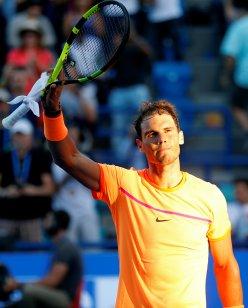 Tennis - Mubadala World Tennis Championship - Rafael Nadal of Spain v David Goffin of Belgium - Abu Dhabi, UAE - 31/12/16 - Rafael Nadal of Spain celebrates. REUTERS/Ahmed Jadallah