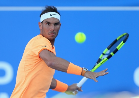 ABU DHABI, UNITED ARAB EMIRATES - DECEMBER 31: Rafael Nadal of Spain in action against David Goffin of Belgium during the Final match of the Mubadala World Tennis Championship at Zayed Sport City on December 31, 2016 in Abu Dhabi, United Arab Emirates. (Photo by Francois Nel/Getty Images)
