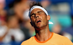 ABU DHABI, UNITED ARAB EMIRATES - DECEMBER 31: Rafael Nadal of Spain reacts during the Final match of the Mubadala World Tennis Championship at Zayed Sport City on December 31, 2016 in Abu Dhabi, United Arab Emirates. (Photo by Francois Nel/Getty Images)