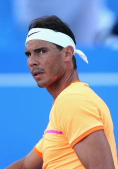 ABU DHABI, UNITED ARAB EMIRATES - DECEMBER 31: Rafael Nadal of Spain looks on during the Final match of the Mubadala World Tennis Championship at Zayed Sport City on December 31, 2016 in Abu Dhabi, United Arab Emirates. (Photo by Francois Nel/Getty Images)