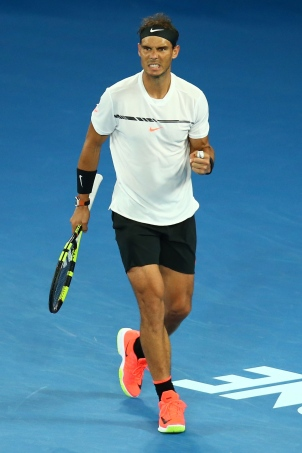 MELBOURNE, AUSTRALIA - JANUARY 29: Rafael Nadal of Spain reacts in his Men's Final match against Roger Federer of Switzerland on day 14 of the 2017 Australian Open at Melbourne Park on January 29, 2017 in Melbourne, Australia. (Photo by Jack Thomas/Getty Images)